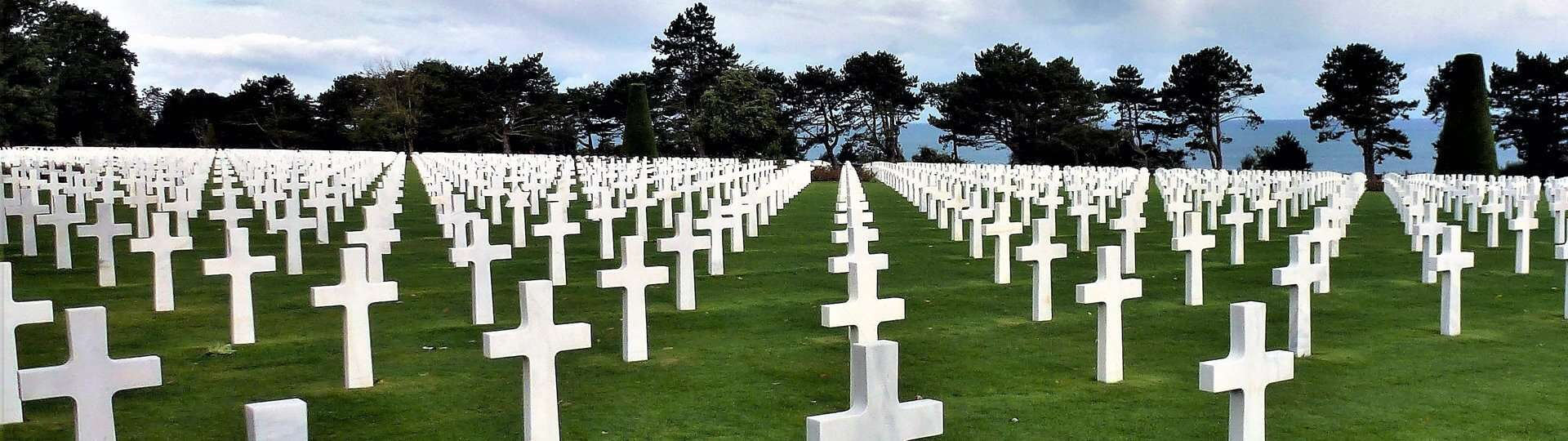One of a number of cemeteries next to the D-Day Beaches in Normandy, France.