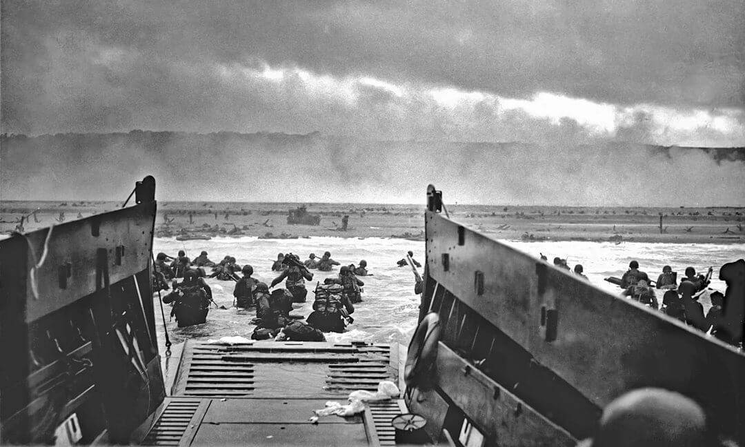 Image of the troops landing on the Normandy beaches during D-Day as seen from a landing craft