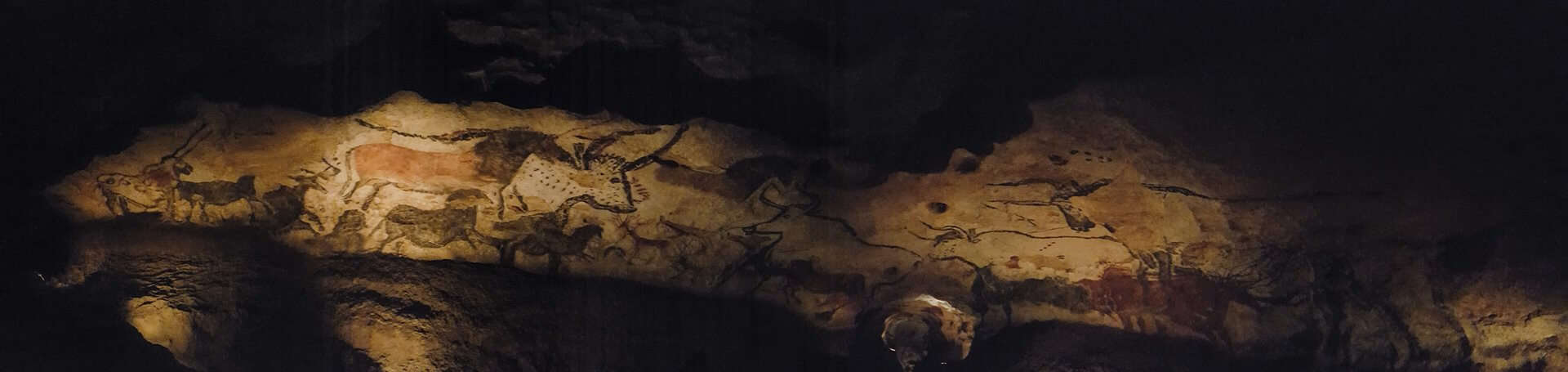 The Hall of Bulls in Lascaux 2 near Montignac in France.