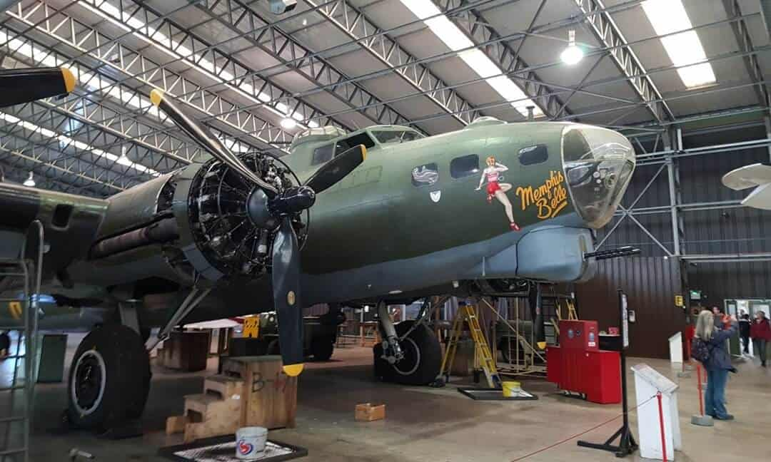 The Memphis Belle bomber inside the museum at Duxford