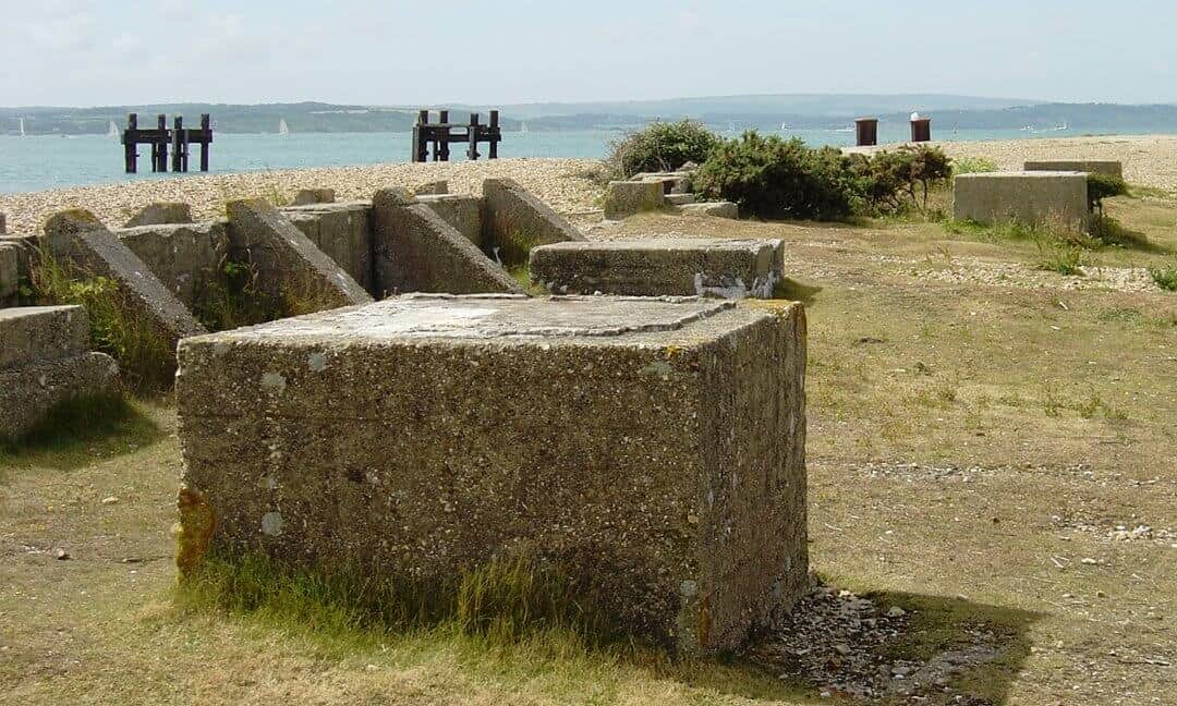 The concrete cassions on Lepe Beach left over from building the Mulberry harbours for D-Day