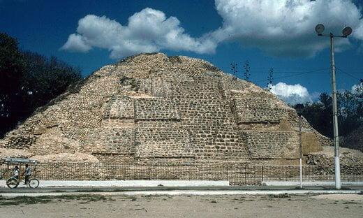 Southern view of the stepped pyramid in Acanceh, Mexico.