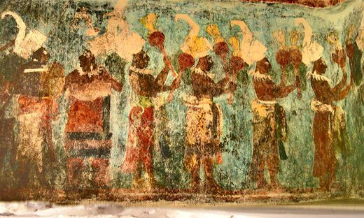 Mayan paintings depicting musicians at Bonampak, Mexico.