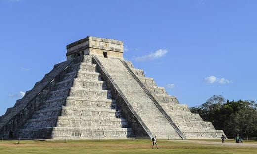 The Temple of Kukulcan in the centre of the Mayan city of Chichen Itza, Mexico.