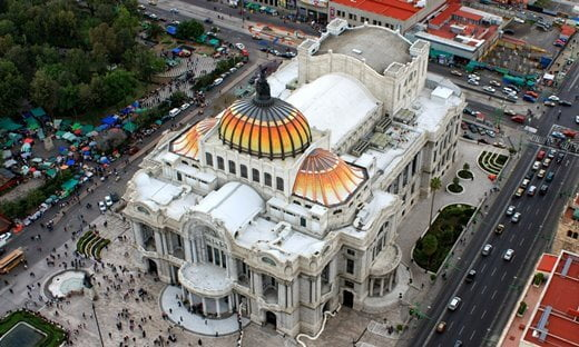 An aerial view of the Palacio de Bellas Artes from the Torre Latinoamericana, Mexico City.