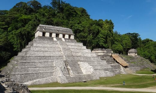 The Mayan Temple of the Inscriptions at Palenque, Mexico.