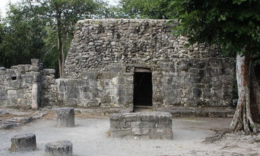 The ruined structure known as Los Murcielagos at the Mayan site of San Gervasio, Mexico.