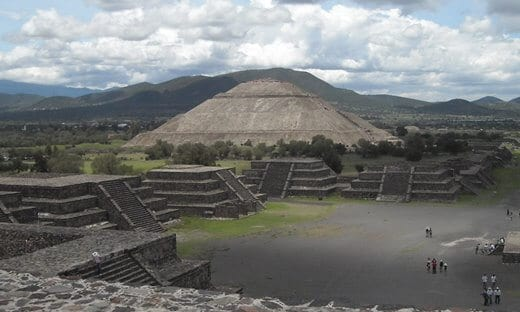 Looking down the Avenue of the Dead at Teotihuacan, Mexico.