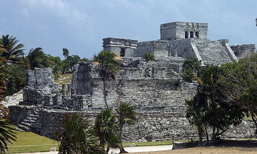 Ruins of the Temple Pyramid known as El Castillo at Tulum, Mexico.