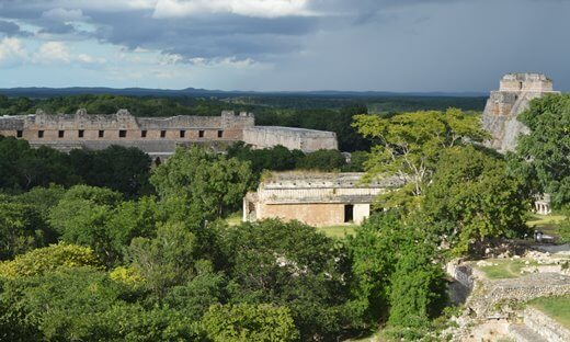 A view across the Mayan city of Uxmal, Mexico.