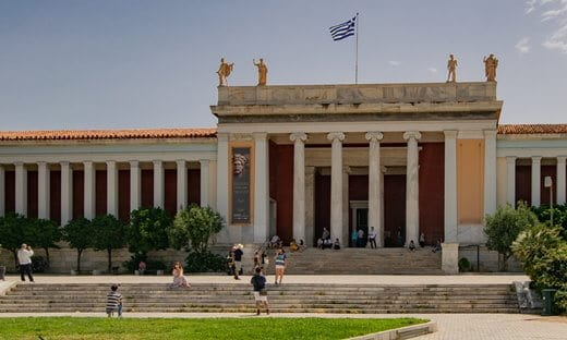 Entrance to Greece's National Archaeological Museum in Athens.