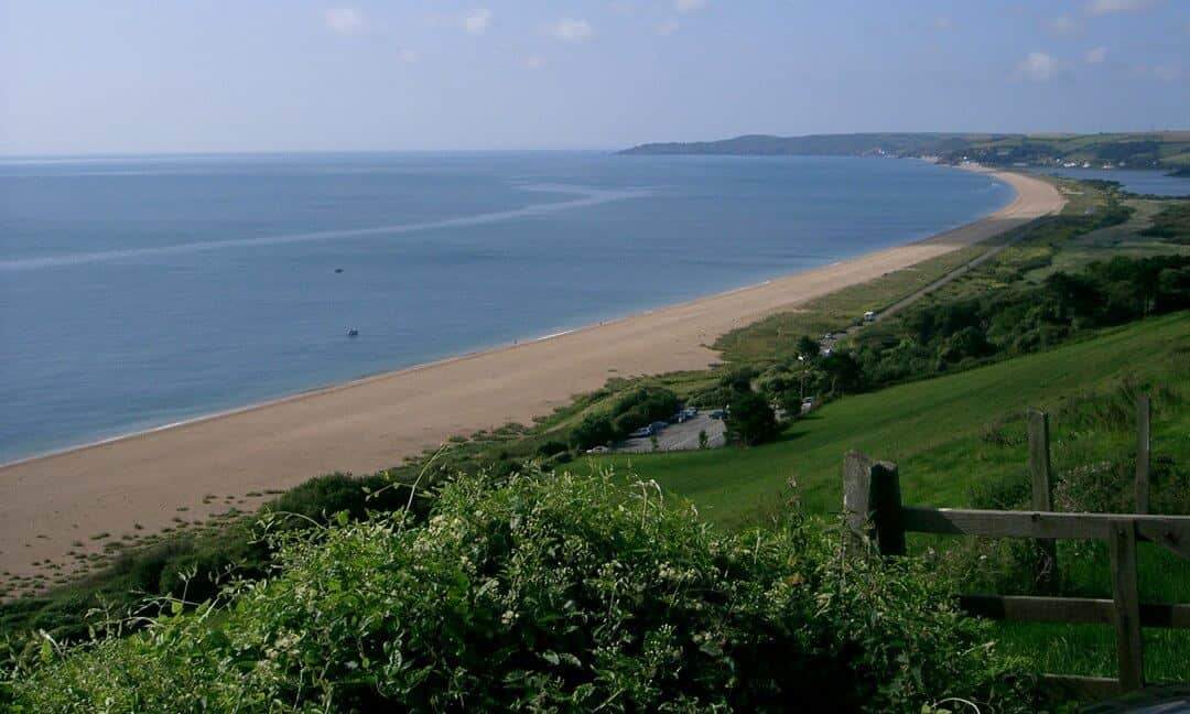 The beach at Slapton Sands in Devon, locations for Exercise Tiger before the D-Day landings