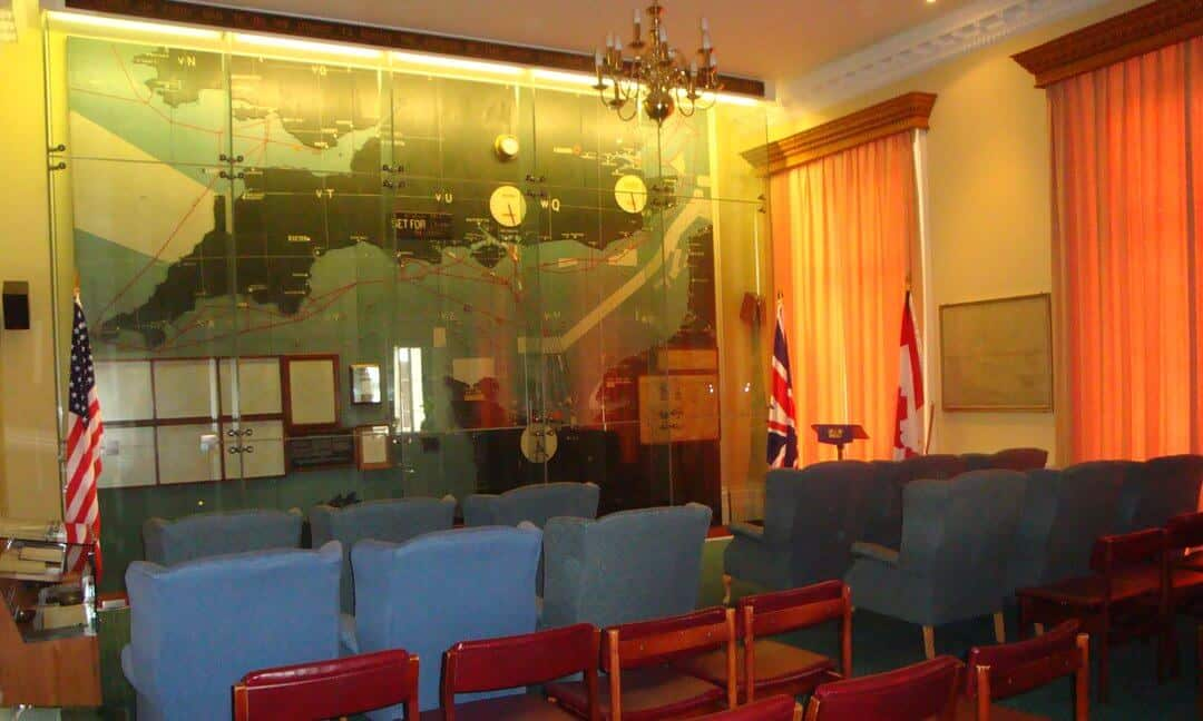 Inside the map room at Southwick House showing the map in its D-Day positions