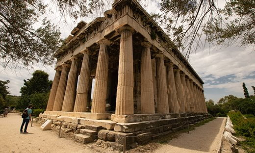The striking Temple of Hephaistos in the Ancient Agora, Athens.
