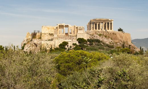 The entrance to the Acropolis, showing the Parthenon.