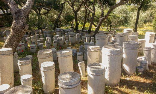 Tombstones with ancient Greek inscriptions at Kerameikos, Athens.
