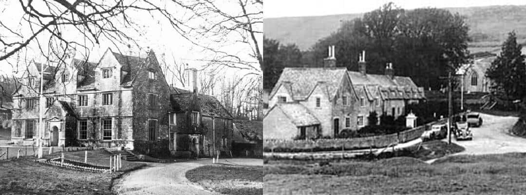 Tyneham as it used to look - the manor house and a row of cottages