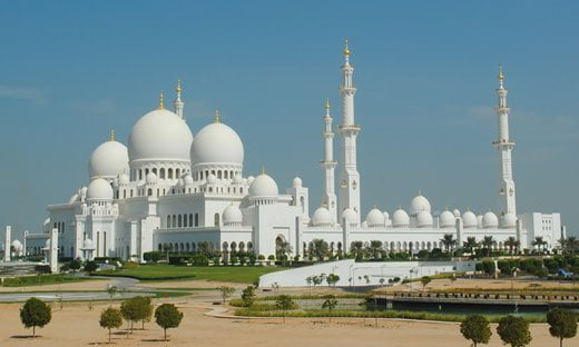 Sheikh Zayed Grand Mosque in Abu Dhabi, one of the world's largest mosques.