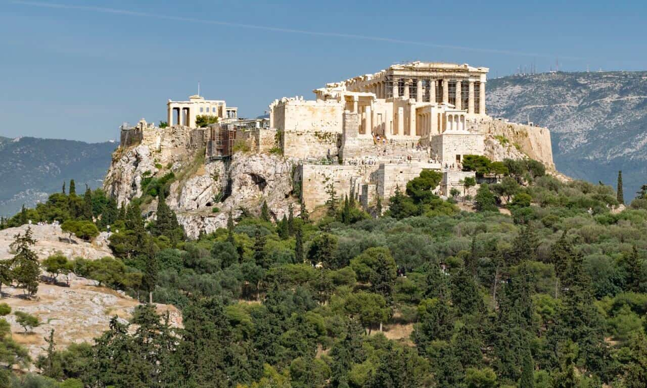The western end and entrance to the Acropolis in Athens.