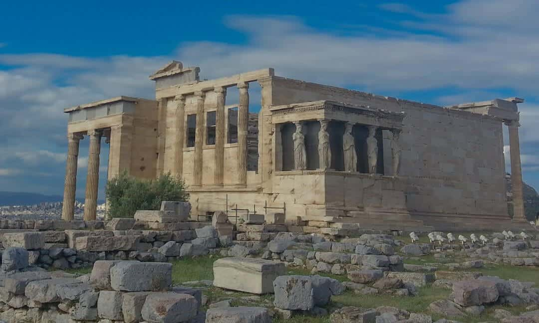The Erechtheion on the Acropolis in Athens, Greece.