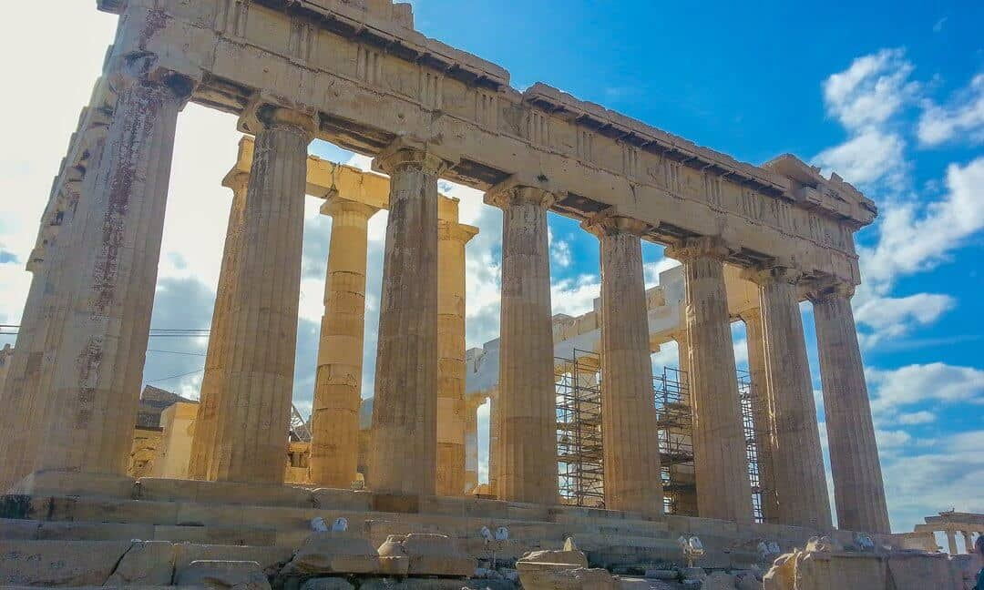 The Parthenon still undergoing extensive reconstruction.