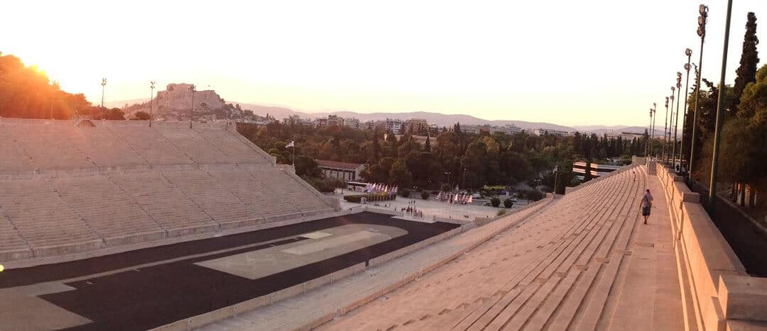 Sunset over the Panathenaic Stadium in Athens, Greece.