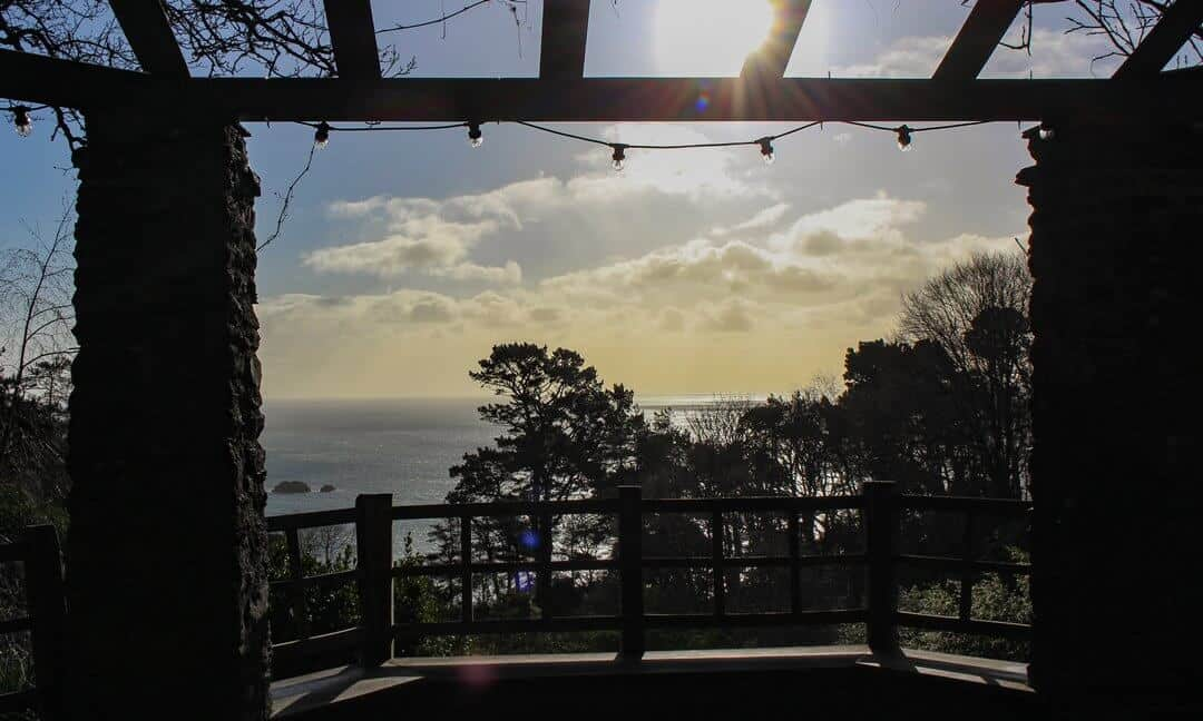 A wintery view out over the sea from the gazebo.