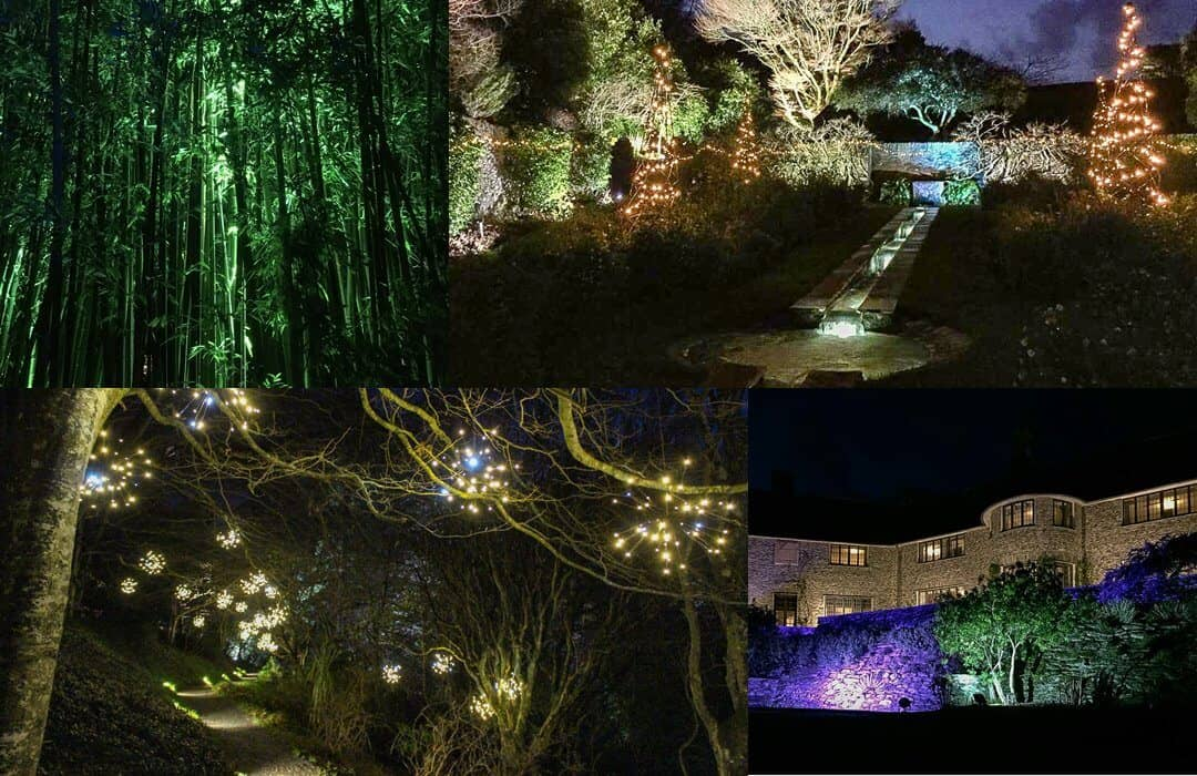 Christmas illuminations in the gardens at Coleton Fishacre.