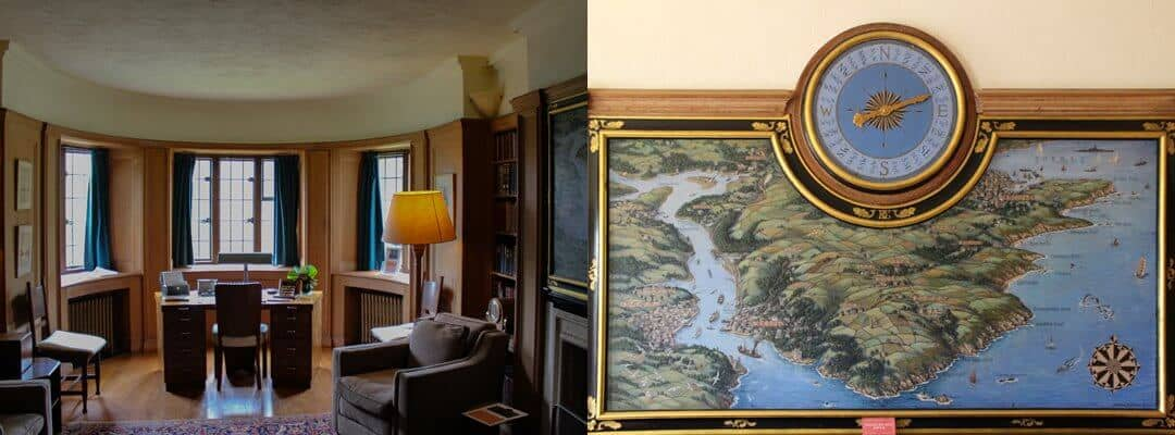 Inside the study at Coleton Fishacre.
