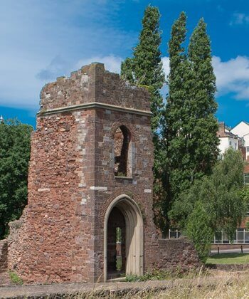 Remains of the Medieval bridge in Exeter, Devon.