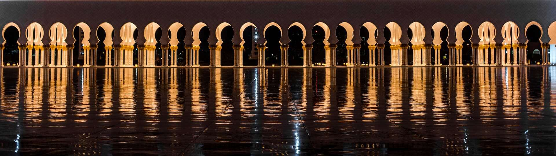 Light reflecting in the pools of water at the Sheikh Zayed Grand Mosque, Abu Dhabi.