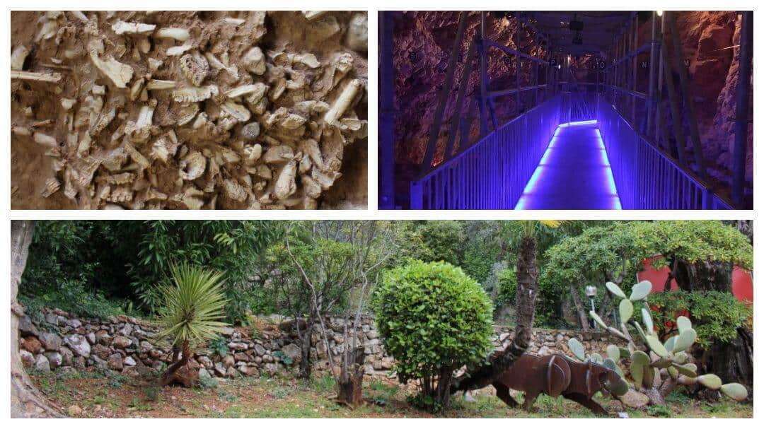 Three photos showing the outside of the Grotte, a cast of a pile of bones and the illuminated walkway inside the caves.