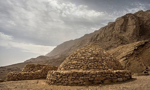 Ancient burial tombs in the foothills of the Jebel Hafeet mountain, Abu Dhabi.