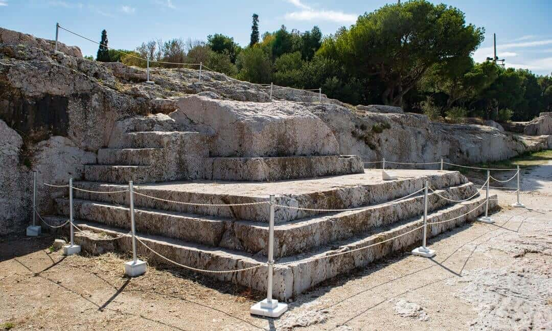 The bema or podium of the ekklesia Pnyx Hill in Athens.