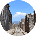 One of many streets in the Roman city of Pompeii, Italy.