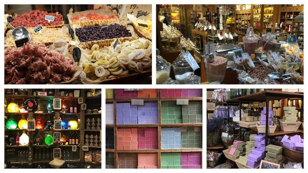 Five images of shop displays showing soaps, spices, herbs, liquids and dried fruit.
