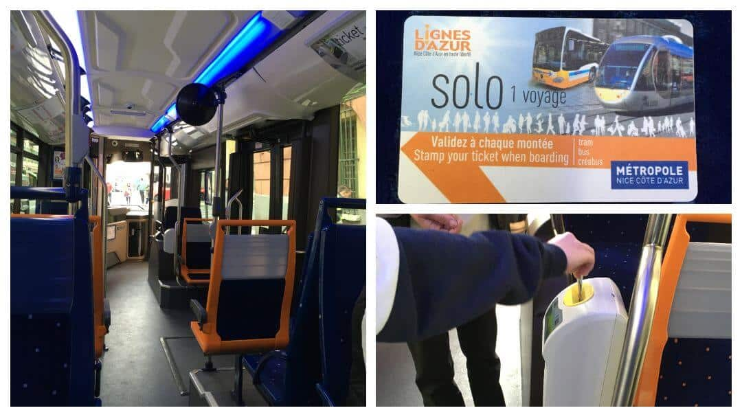 Showing the inside of a bus, how to use the validating machine and what a ticket looks like.