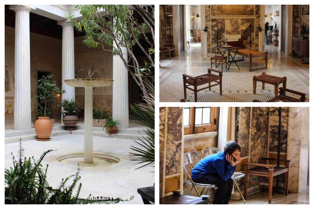 The peristyle, drawing room inside the villa any my son listening to the audio guide.