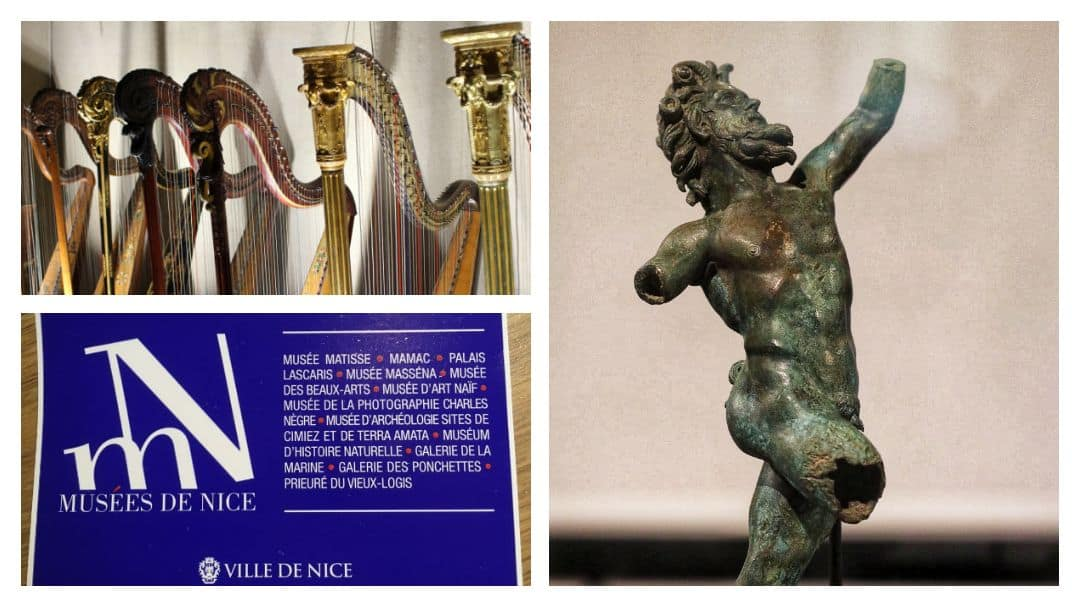 A dryad statue, tops of harps in a row and the blue museum pass.