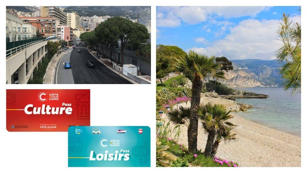 A palm tree on a beach with a blue sky and sea. a street scene in Monte Carlo and a picture of both the leisure and culture passes.