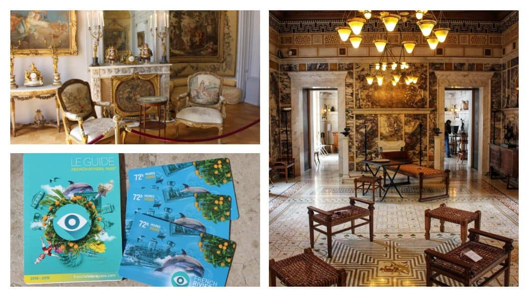 Three Riviera Passes and the guide, inside a Greek villa and inside a room with tapestries and ornate furnishings