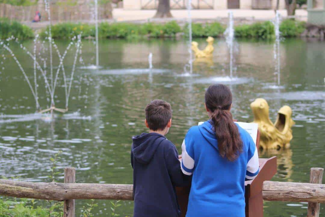 Two children standing with their backs to the camera looking at a lake with fountains going off.