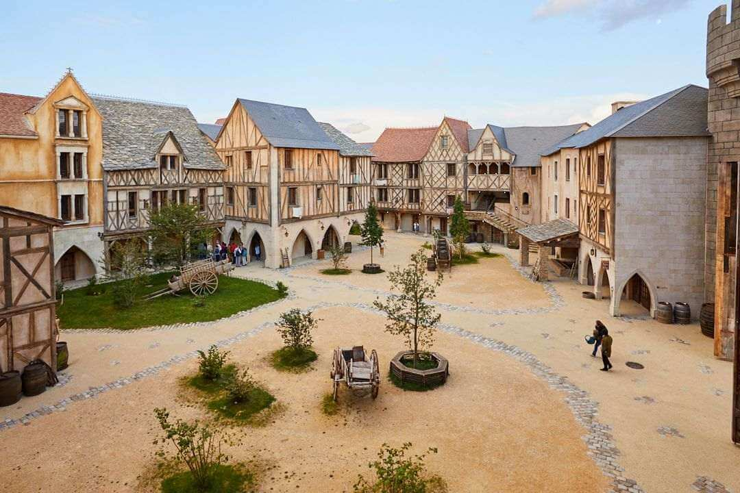 A courtyard in a Medieval building complex.