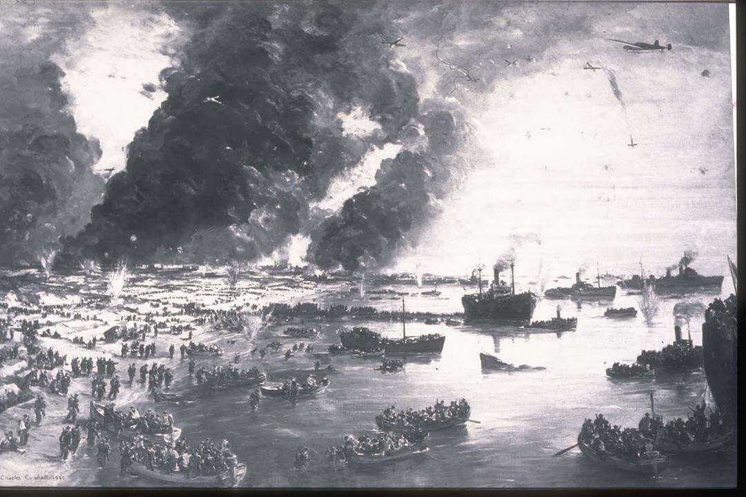 A painting of Dunkirk showing men in small boats and explosions.