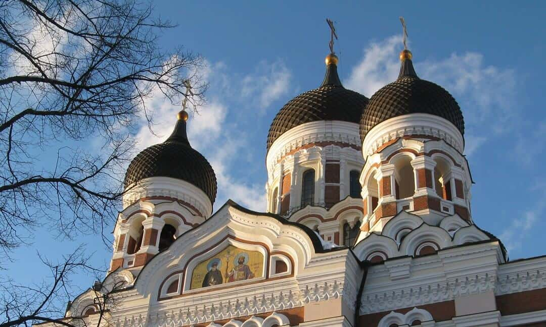 The typical onion shaped domes of the Russian Orthodox cathedral in Tallinn.