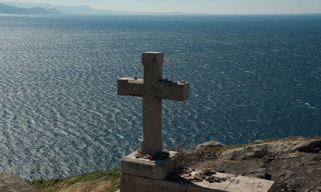 A stone cross on the Spanish coast of Finisterre.