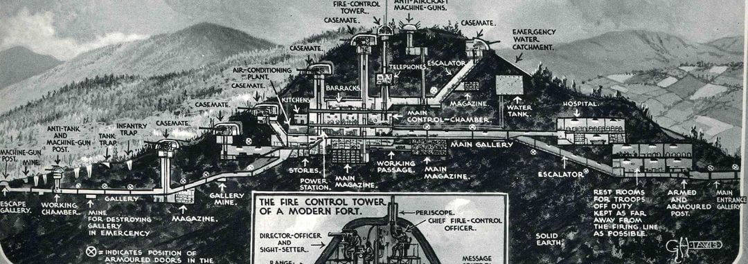 A black and white drawing of a cross section of the fortifications of the Maginot Line.