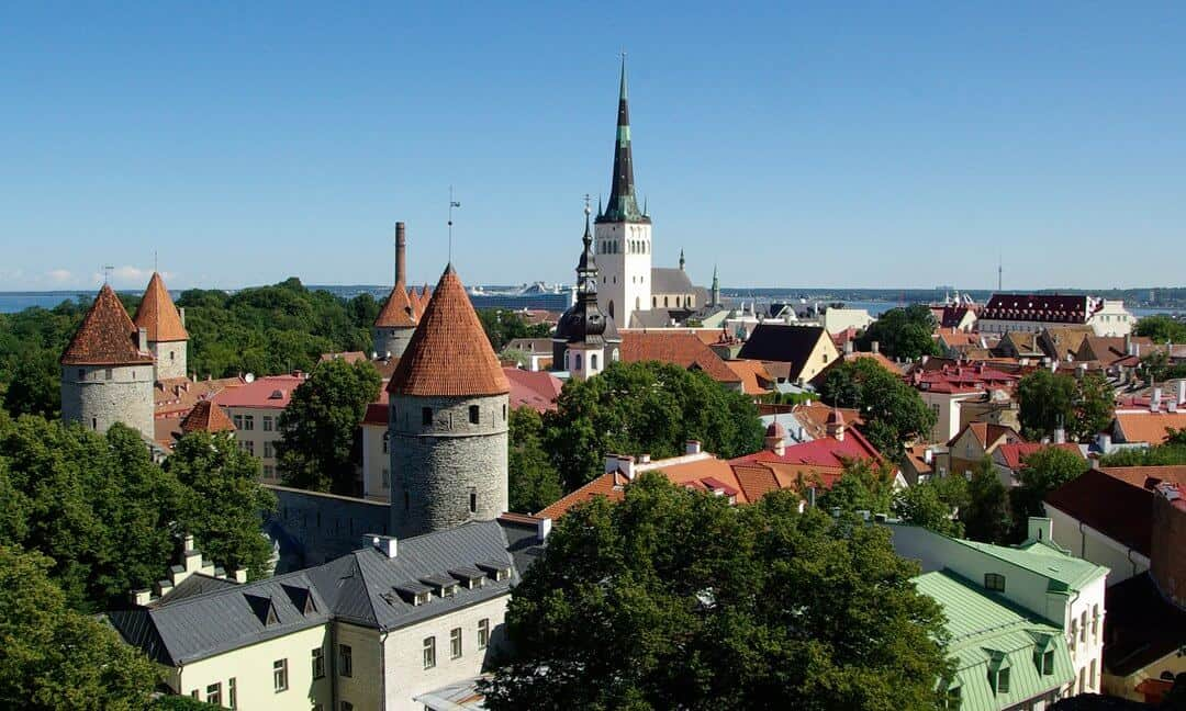 Turrets and spires make up the skyline of historic Tallinn, Estonia.