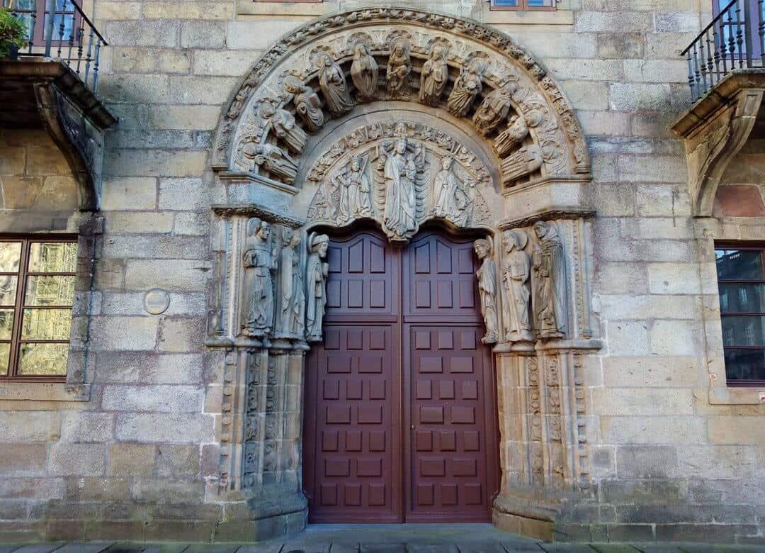 The entrance to the 'Colexio de San Xerome' on the main square in Santiago de Compostela.