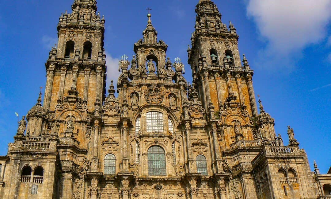 The western western façade of the Cathedral of Santiago de Compostela, included in the Compostela Pass.